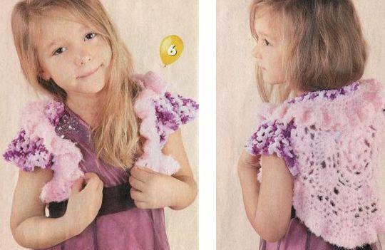 Розовое болеро для девочки 3-4