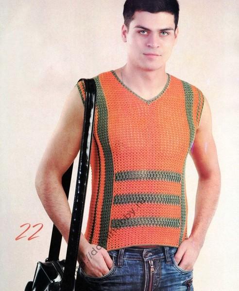 Яркий привлекательный мужской жилет–сеточка прекрасно подойдет для отдыха в жаркие дни.