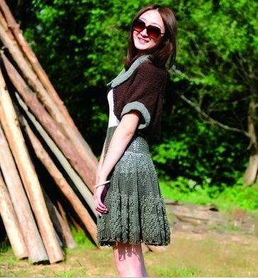 Расклешенная юбка в технике