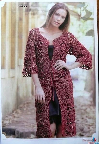 Женское вязаное пальто крючком