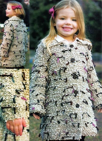 Пальто для девочек спицами и