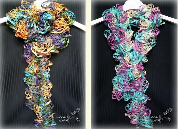 Вяжем шарфы из ленточной пряжи