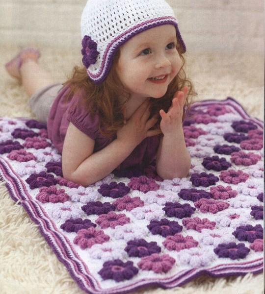 Детский цветочный плед. Схемы