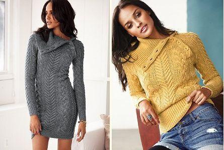 платье+свитер спицами