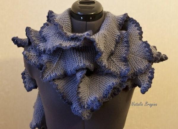 Вяжем шарф из двух видов пряжи
