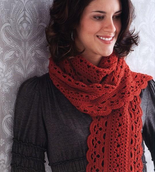 Осенний шарф крючком. Схема