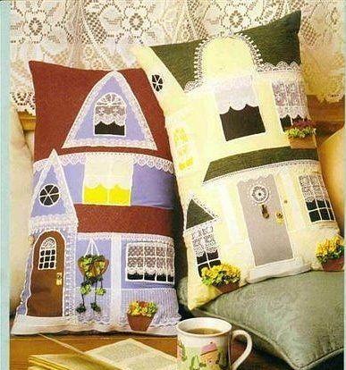 Подушки-домики.Лоскутная