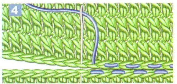 Соединение вязанных полотен с помощью столбиков 30