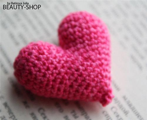 вязания маленьких сердечек
