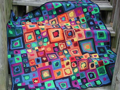 Вязанные одеяла крючком