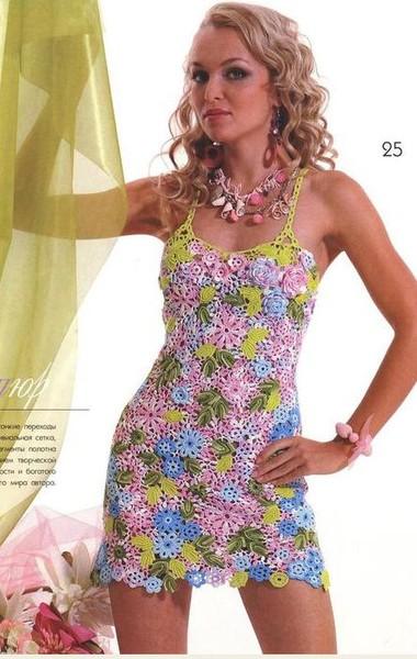 Схемы вязания ленточного кружева крючком платья