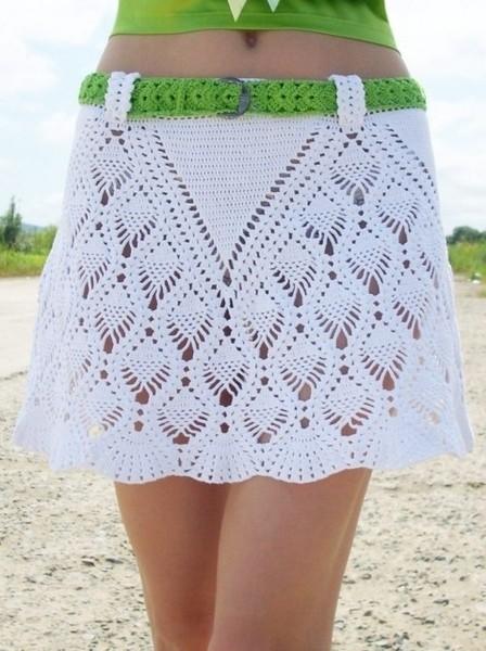Белая юбка. Крючок. Схема