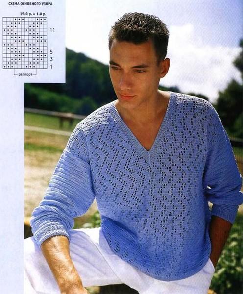 Мужской пуловер, схема вязания.