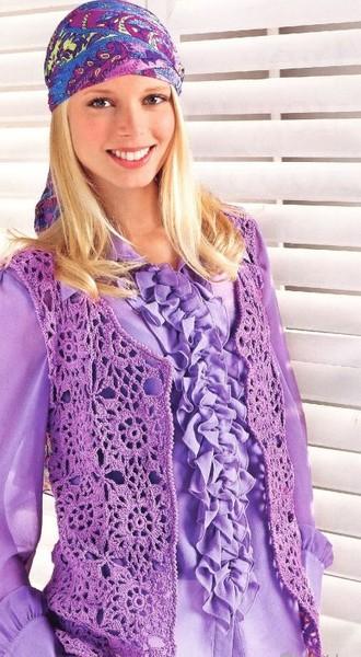 Для вязания жилета необходимо: 350 грамм сиреневой пряжи и крючок номер три; УЗОРЫ ДЛЯ ВЯЗАНИЯ.