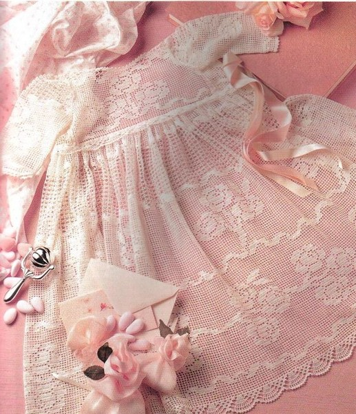 Красивое платье для девочки (филейное вязание).  Это цитата сообщения.