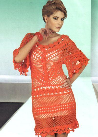 Платье крючком.. Схемы вязания