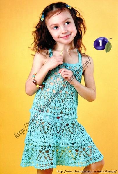Вязаные сарафаны для девочек с описанием Вязание крючком, схемы вязания, бесплатное.