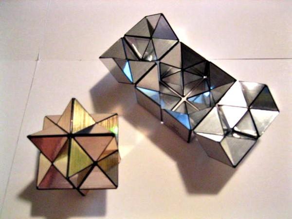 приобретая причудливые формы.  Куб йошимото можно сложить в ромбические звездообразные додекаэдры.