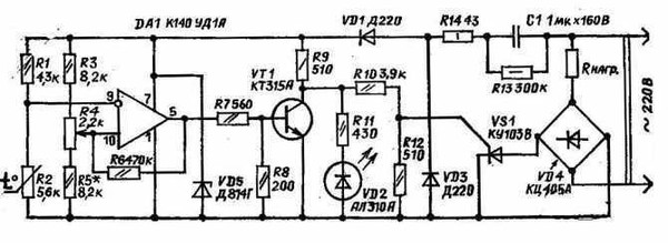 Схема терморегулятора дана...  На ней выполнен узел сравнения двух напряжений: напряжения на термосопротивлении.
