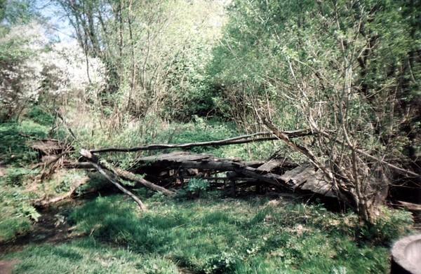 разрушенный мостик у родника
