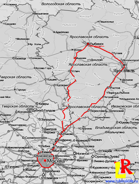 Карта Москва - Рыбинск по двум маршрутам (через КАЛЯЗИН, через ЯРОСЛАВЛЬ) .