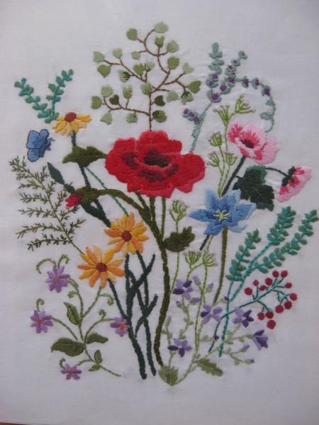 Схемы вышивки полевых цветов гладью