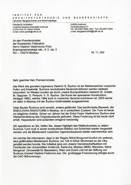 R.Graefe to V.Putin