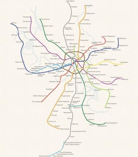 Конкретные цифры расстояний не указаны, зато время поездки там, по сравнению с другими интерактивными схемами метро...