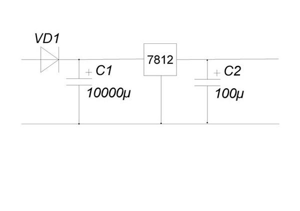 7812 - микросхема стабилизатора.  Продается везде где продаются радиодетали.  Ей нужен теплоотвод, для чего...