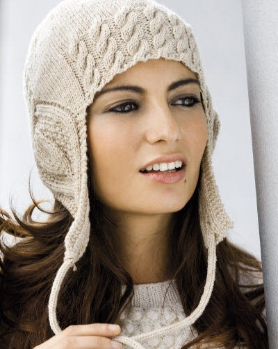 Схема вязания спицами шапка с ушками