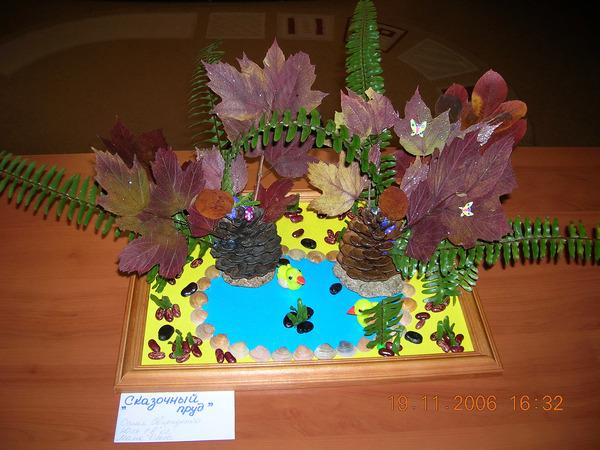 Поделки из листьев шишек цветов