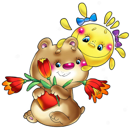 Фото Владимир Трубицын. Медвежонок с тюльпанами и солнцем