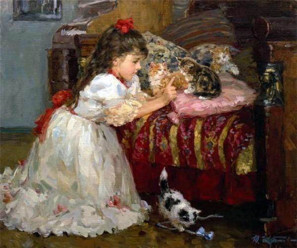 Фото  Девочка с котятами