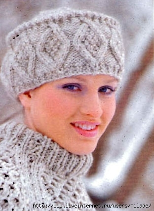 1001uzor.com/needles/woman/cap01_01.html.  Вязаные спицами модели для женщин.  Шапочки, береты, шляпы, шарфы.