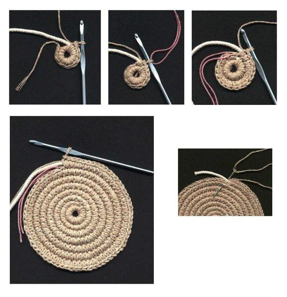 сумки связаные крючком из атласных лент.