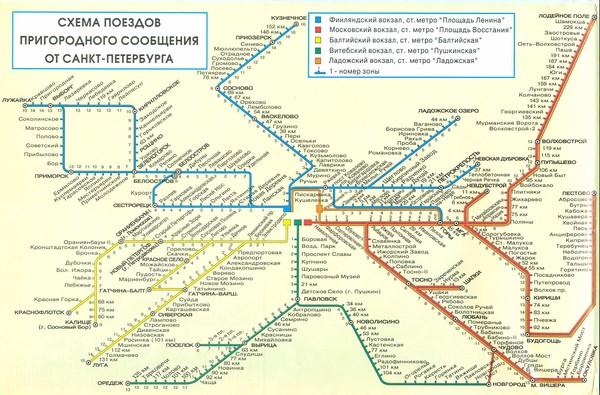 Подробная карта схема электричек Санкт-Петербурга.