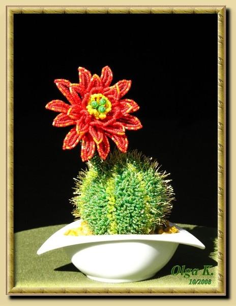 Используя схемы плетения кактусов из бисера каждый раз.