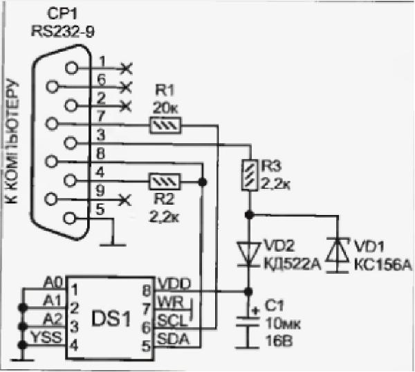 На рис. 1 приведена принципиальная электрическая схема простейшего программатора, подключаемого к СОМ-порту...