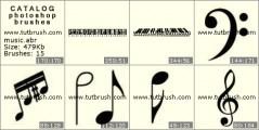 Скачать кисти фотошоп Музыкальные инструменты и ноты