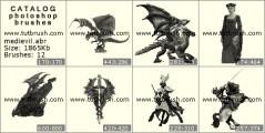 Download кисти фотошоп Древние замки и существа
