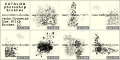 Скачать кисти фотошоп Векторные букеты цветов