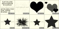 Скачать кисти для фотошоп Аниме сердечки и звезды