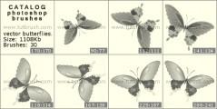 Скачать кисть фотошоп Векторные бабочки