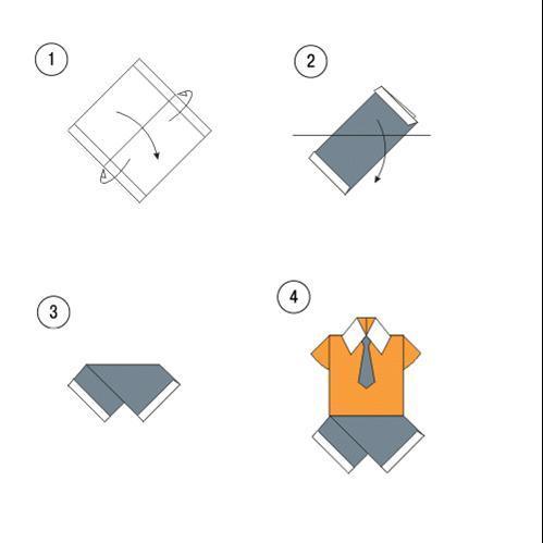 Оригами из бумаги рубашка с