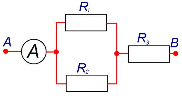 Решим задачи В. 1. Определите общее сопротивление цепи и напряжение на участке АВ, если R1=10 Ом, R2=40 Ом, R3=2 Ом...