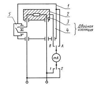 Схема измерения тока утечки при рабочей температуре для однофазных машин...  4 - дополнительная изоляция; 5...