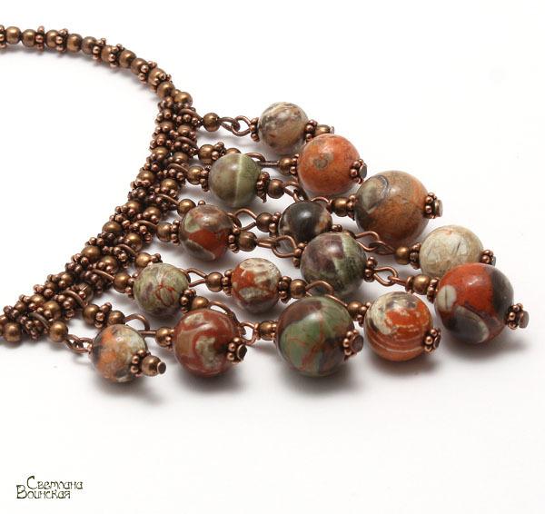 авторское украшение с яшмой ожерелье осень