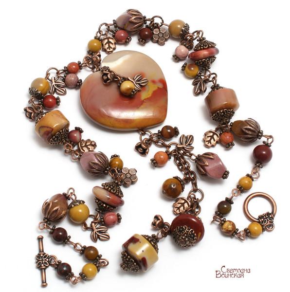 авторское украшение с мукаитом сердце осень натуральные камни бусы