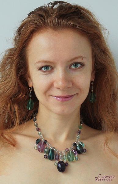 авторское украшение с флюоритом ожерелье прозрачные камни натуральные бусы