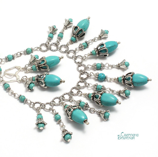 авторское украшение с говлитом под бирюзу ожерелье восточное восток натуральные камни бусы